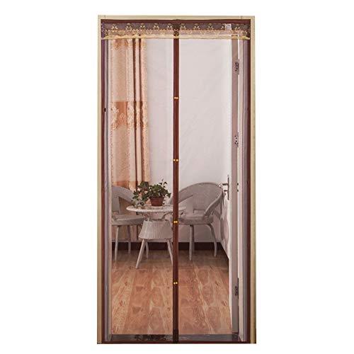 Anti-Moskito Pure Color Magnetic Screen Tür, einfach zu installieren Pest Control Fine Mesh Vorhang Vollrahmen Klettverschluss Wohnzimmer Schlafzimmer-Kaffee 90x220cm (35x87inch)