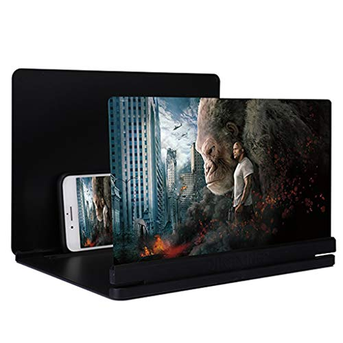 Mdjywl Lupa de Pantalla 3D con Altavoces Bluetooth, Lupa de la Pantalla 3D, Pantalla de Cine con HD de Pantalla Plegable de Pantalla de teléfono móvil (Color : Black-A, Size : 18-Inch)