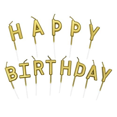Candeline Happy Birthday, Particolari Candele di Compleanno, Cake Topper Decorazioni Torta Candele Decorative per Feste di Compleanno (Oro)