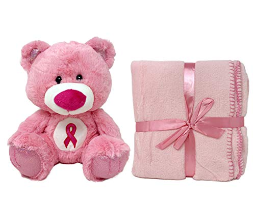 Breast Cancer Awareness Pink Fleece Blanket and Teddy Bear, Breast Cancer Gifts for Women, Soft Blanket for Women, Breast Cancer Awareness Bear, Inspiration Gifts for Women, Pink Throw Blanket