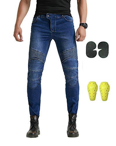 GELing Jeans Pantaloni Moto Protezioni Omologate Inserti Aramid Rinforzati,Blu,L