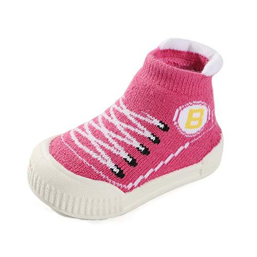 MK Matt Keely Zachte Rubber Zool Baby Sok Schoenen Peuter Anti-Slip Slipper Sokken Eerste Wandelschoenen voor Baby Jongen Meisje Prewalker 4/4.5 UK Child Roze