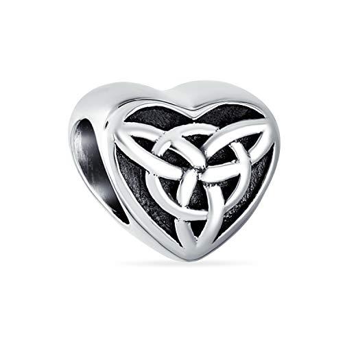 Irish Celtic Love Knot Heart Shape Bead Charm For Women For Teen Oxidized .925 Sterling Silver Fits European Bracelet