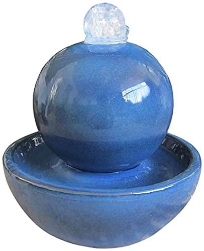 XCTLZG Indoor Zen Desktop Cascata Fontana Ceramica Artigianato Con Feng Shui Palla Da Tavolo Decorazione Acqua Per Scrivania Ufficio Casa Blu 27,4 cm Verde 10,20,3 cm
