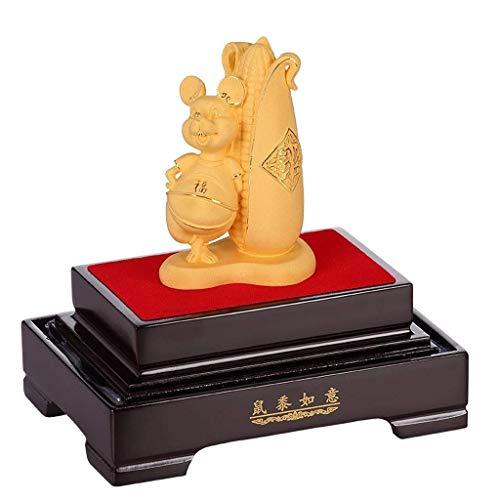 MRTYU-UY Decorazione Feng ShuiFeng Shui Zodiaco Cinese Anno del Ratto/Topo Figurine da Collezione Decorazione per Fortuna e ricchezza Perfetto per la casa o L'Ufficio Decorazioni per Interni