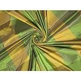 Puresilks Seide TAFT Stoff grün & gelb Farbe Plaids