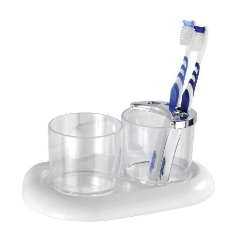 WENKO 17939100A Zahnputzbecher und Zahnbürstenhalter Pure - Zahnbürstenhalter für Zahnbürste und Zahnpasta, Acrylnitril-Butadien-Styrol (ABS), 20 x 10 x 12 cm, Weiß