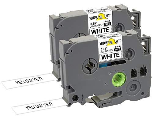 Yellow Yeti 2 Cassette Nastri Laminati TZe-221 TZ-221 nero su bianco 9mm x 8m Etichette compatibili per Etichettatrici Brother P-Touch PT-1000 PT-H100R PT-H100LB PT-H107B PT-H110 PT-D400 PT-D600VP