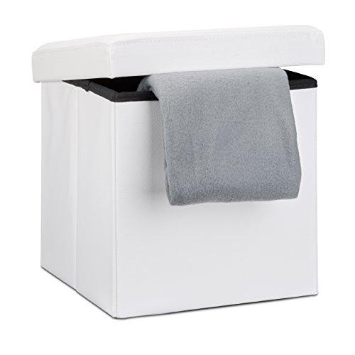 Relaxdays Faltbarer Sitzhocker 38 x 38 x 38 cm stabiler Sitzcube mit praktischer Fußablage als Sitzwürfel aus Kunstleder als Aufbewahrungsbox mit Stauraum und Deckel zum Abnehmen für Wohnraum, weiß