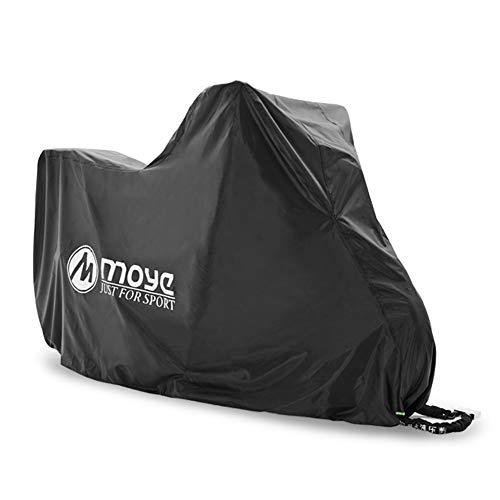 HIOD Cubierta de la Motocicleta 210D Todas Las Estaciones Impermeable A Prueba de Polvo Protección UV Exterior Interior Moto Cubiertas de Lluvia Abrigo con Orificios de Bloqueo,Black,3XL