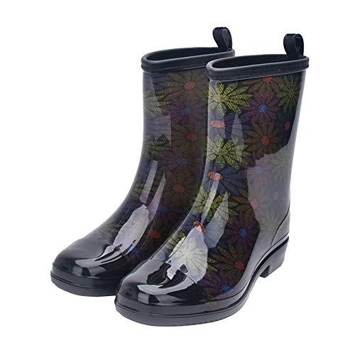 DDZY Botas de lluvia de tubo medio, impermeables, para mujer, antideslizantes, para llevar, color, talla 38 EU