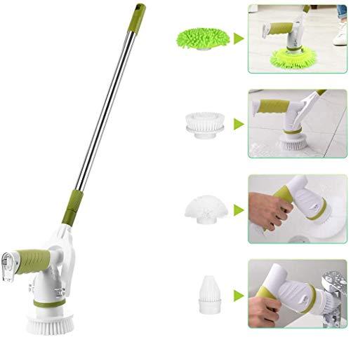 Elikliv 掃除ブラシ 電動 お風呂掃除ブラシ バスポリッシャー 充電式 3つのブラシ付き 長さ調整可能 浴槽・台所・お手洗い・天井などの掃除に適用