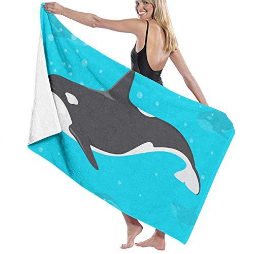asdew987 Toallas de playa para mujeres y hombres de dibujos animados Orca Ocean Killer Whale Toallas de baño de secado rápido multiusos Travel Pool Manta grande 31 x 51 pulgadas