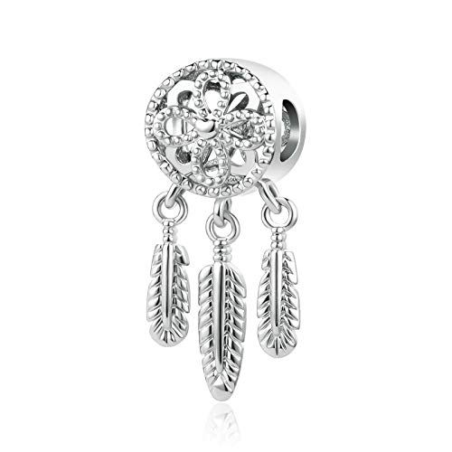 MiniJewelry Women Girls Dream Catchers Charm for Bracelets fits Pandora Charms Bracelets Feather Follow Your Dreams