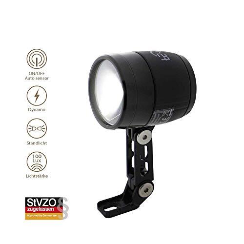 t24 Front Ultra Bright 100 Lux LED Fahrrad Frontlich mit Sensor für Dynamo, StVZO