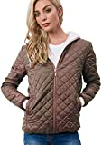 Women's Quilted Puffer Jacket with Hood Khaki L
