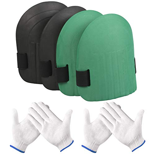 BIGKASI 2 paia ginocchiere in Eva impermeabili, ginocchiere da giardino per esterni, di ginocchiere, ginocchiere leggere e morbide con 2 paia di guanti per lavori di giardinaggio (nero e verde)