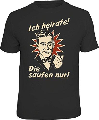 """Rahmenlos - Camiseta original para el novio en despedida de soltero, diseño con texto """"Ich heirate..."""" Negro XXXL"""