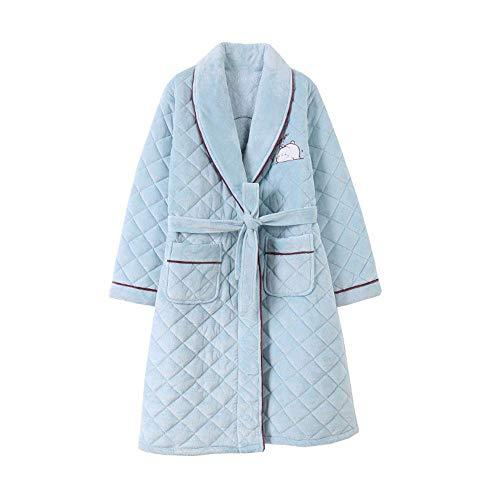 DSHUJC Albornoz de Pijama de algodón Acolchado de Tres Capas para Mujer, Engrosamiento de Invierno, Terciopelo Coralino, Solapa cálida, Bata Yukata, Ropa de casa infor
