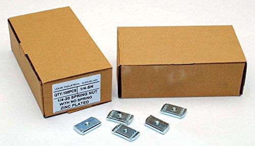 (100) Strut Channel Nuts 1/4-20 No Spring Zinc Plated Unistrut Nut