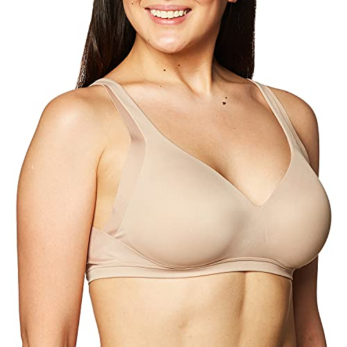 Warner's Women's No Side Effects Wirefree Backsmoothing Contour Easy Size Bra, Toasted Almond, L