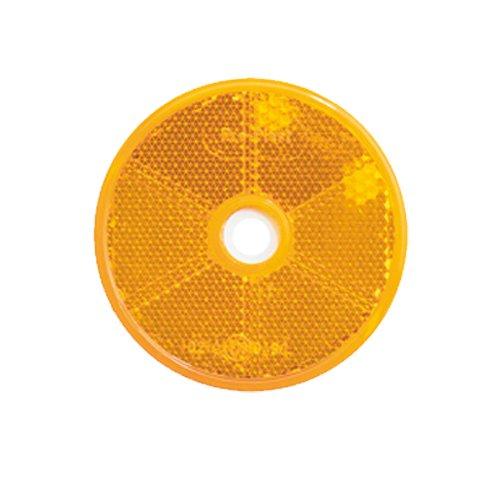 Reflektor / Katzenauge / Rückstrahler gelb 80 mm mit Befestigungsloch