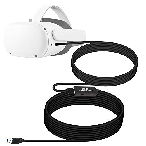 NEWZEROL 1 Satz Total 8M /26Ft USB Stabiles Datenkabel Kompatibel mit Oculus Quest/Quest 2 Link Steam VR, Verlängerungskabel (5M) mit Relaisverstärker-Chip und USB 3.2 Gen 1-Kabel (3M) vom Typ A bis C