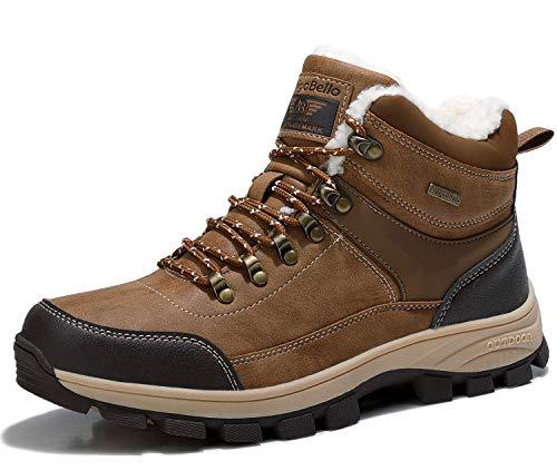 ARRIGO BELLO Uomo Stivali da Neve Invernali Scarpe Allineato Pelliccia Caloroso Caviglia Piatto Stivaletti Sportive Boots Escursionismo 41-46 (Cachi, Numeric_44)