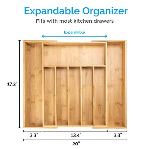 Smirly Kitchen Drawer Organizer - Utensil Tray Drawer Organizer, Silverware Tray for Drawer, Silverware Organizer Drawer, Bamboo Drawer Organizer Kitchen Utensil Organizer, Cutlery Organizer in Drawer