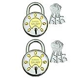 Ramson Steel Galaxy 8 Levers Double Locking 3 Keys Lock (65 MM, Silver) Pack of Two