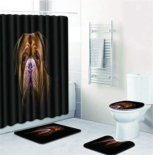NICEME Cortina de Ducha 4Piece Establece Antideslizante Inodoro Cubierta Mat Conjunto de baño Cortina de Ducha Pedestal Manta, Estera de baño y Cortina de Ducha Impermeable