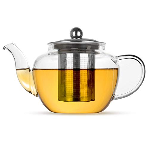 Glass Infuser Teapot | Stainless Steel Loose Leaf Teapot Filter | Heat Resistant Tea & Coffee Strainer | Single Cup Tea Pot | M&W (600ml)