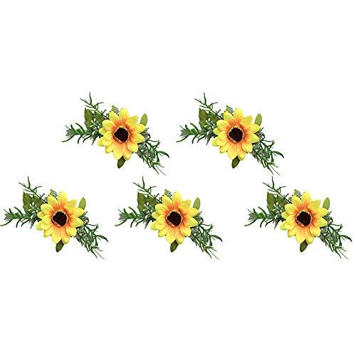 Daaimi Flores Artificiales de Girasol para Novio, Novio, Novio, Ramillete, 5 Unidades