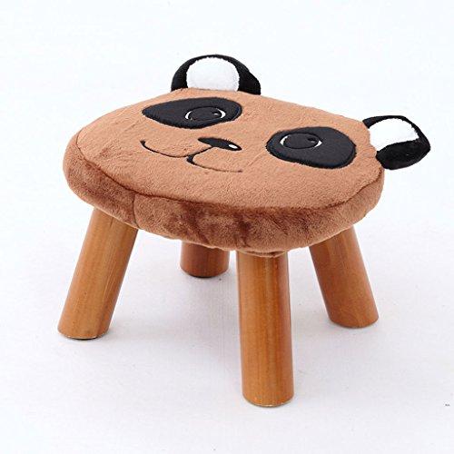 Young baby Tabouret en Bois avec Couverture Souple, Chaise de Chambre à Coucher, Housse Amovible en Flanelle, 5 Couleurs. (L32cm * L29cm * H21cm) (Color : Brown)