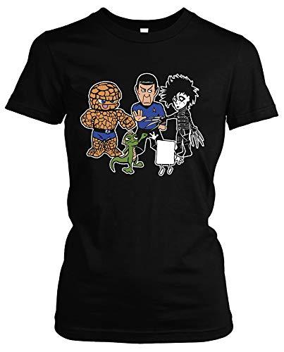 Stein Papier Schere Echse Spock Herren Damen Girlie T-Shirt | Big Bang Theory Fanartikel - Sheldon t-Shirt - Big Bang Theory Tshirt Damen | M3 (L)