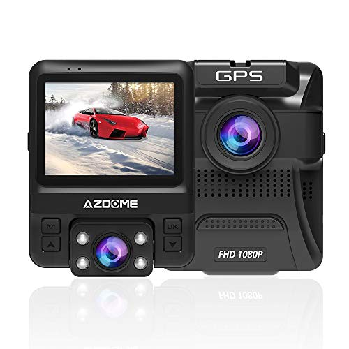 AZDOME 1080P Exterior HD Front and 720P Interior Dual Lens Car Camera with GPS Dashcam 170° Wide Angle Dash Cam Recorder with GSensorMotion DetectionLooping