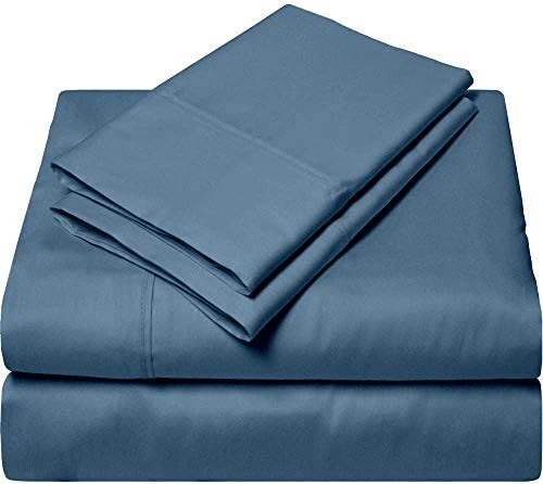 100% Egyptian Giza Cotton Bed Sheet Sets, My-Dream-Giza-Sets of Sheets – 4-PCs 16 Inch Deep-Pocket Heavy Egyptian Giza Bedsheet Sateen Weave for Soft Silky Feel –  Queen, Mediterranean Blue 