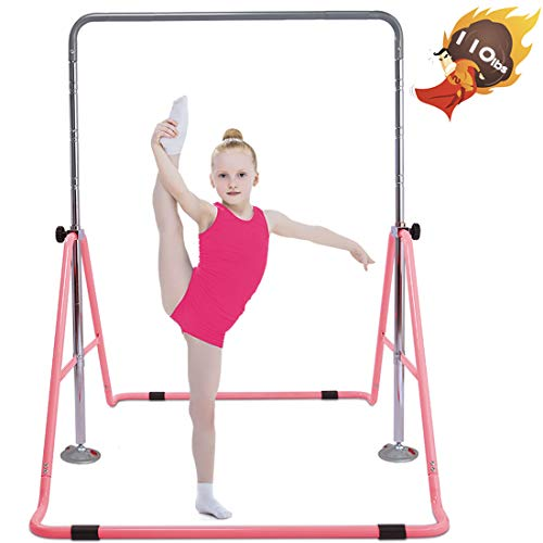 Safly Fun Gymnastics Bars Expandable Children's Training Monkey Folding Bars Climbing Tower Child Play Training Gym (Pink)