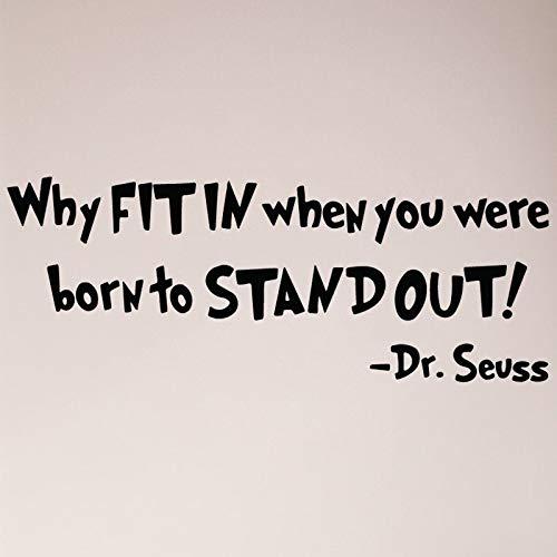 Waarom passen als je geboren bent om Dr. Seuss Wall Decal Sticker Boek Lezen Kat Hoed Kinderen Motivatie