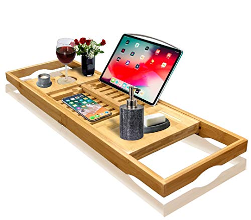 Nature Gear Wood Bamboo Luxury Bath Caddy for Your Book, Tablet or Smartphone - Bathtub Tray with...