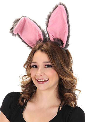Bendable Bunny Ears Plush Costume Headband, Adjustable Gray adults kids