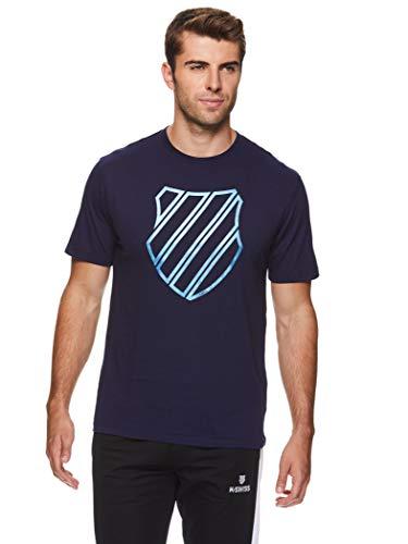 K-Swiss Camiseta de entrenamiento gráfico para hombre, manga corta, para gimnasio y...