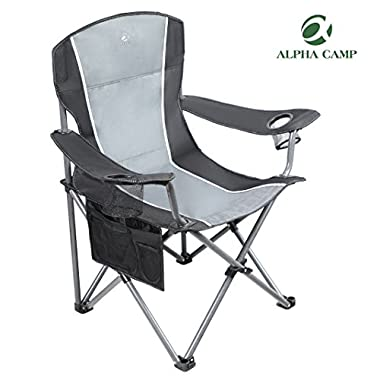 ALPHA CAMP Heavy Duty Folding Arm Chair Oversized Camping Chair Portable Padded Chair Lumbar Back Support 350 LBS - Black/Grey