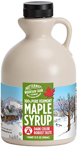 Butternut Mountain Farm Pure Vermont Maple Syrup, Grade A (Prev. Grade B), Dark Color, Robust Taste, All Natural, Easy Pour, 32 Fl Oz, 1 Qt