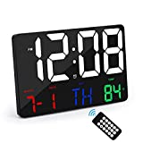 """Amgico Digital Wall Clock Large Display 11.4"""" Alarm Clocks with Wireless Remote Control,LED Oversized Wall Clock with Date and Temperature,12/24H,Snooze Alarm Clock for Bedroom Office Seniors"""