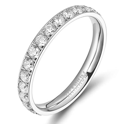 TIGRADE 3mm Women Titanium Engagement Ring Cubic Zirconia Eternity Wedding Band Size 3 to 13.5 (Silver, 7)