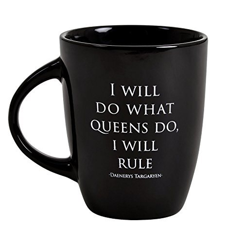 Elbenwald Game of Thrones Keramik-Tasse Daenerys Targaryen I will rule Noble Words Kollektion 250 ml schwarz