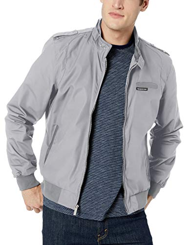 Members Only Men's Original Iconic Racer Jacket, Grey, X-Large