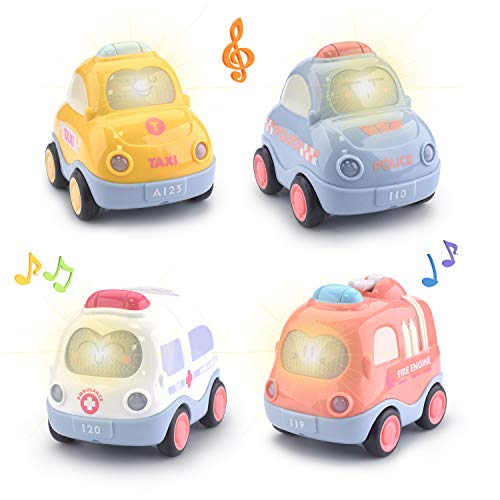 Beville Pull Back Cars for Toddler Boys & Girls,Set of 4 Pack Kids Early Educational Vehicles Includes Police Car, Fire Truck, Taxi & Ambulance(Macaron Color)