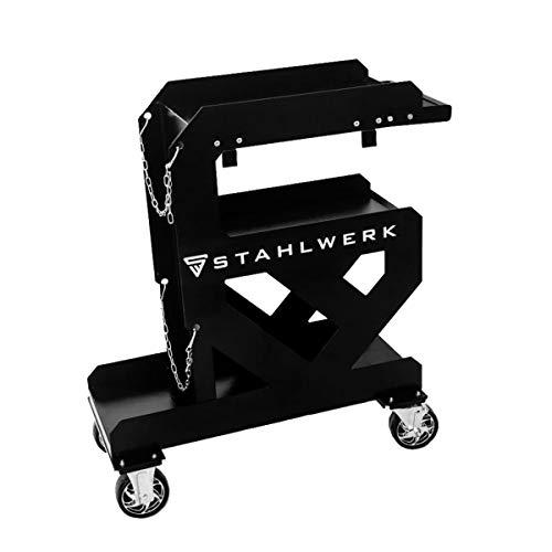 STAHLWERK Schweißwagen mit 2 mm Wandstärke für Schweißgeräte, Plasmaschneider und Zubehör, mit praktischer Halterung für Schläuche und Kabel sowie stabiler Kettensicherung für Gasflaschen